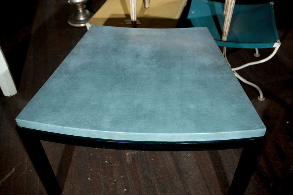 Curved Aqua Leather Top Table Widdicomb Style In Good Condition For Sale In Stamford, CT