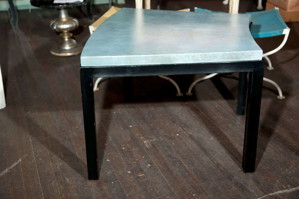 Late 20th Century Curved Aqua Leather Top Table Widdicomb Style For Sale