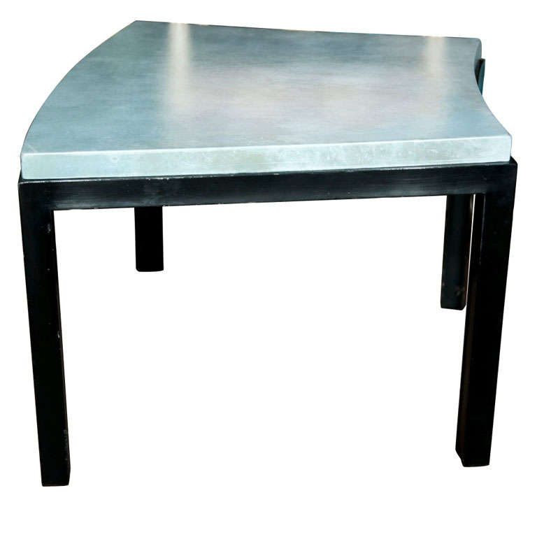 Curved Aqua Leather Top Table Widdicomb Style For Sale