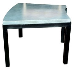 Curved Aqua Leather Top Table Widdicomb Style