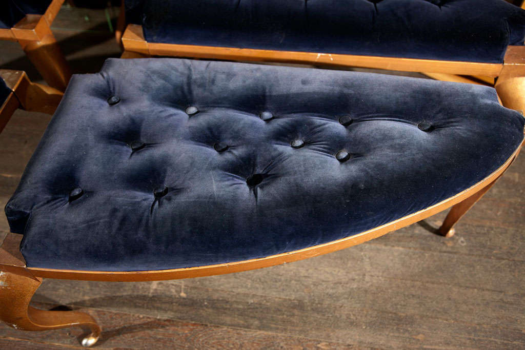 Metal framed poufs with Louis XV legs. Priced individually. 3 available.