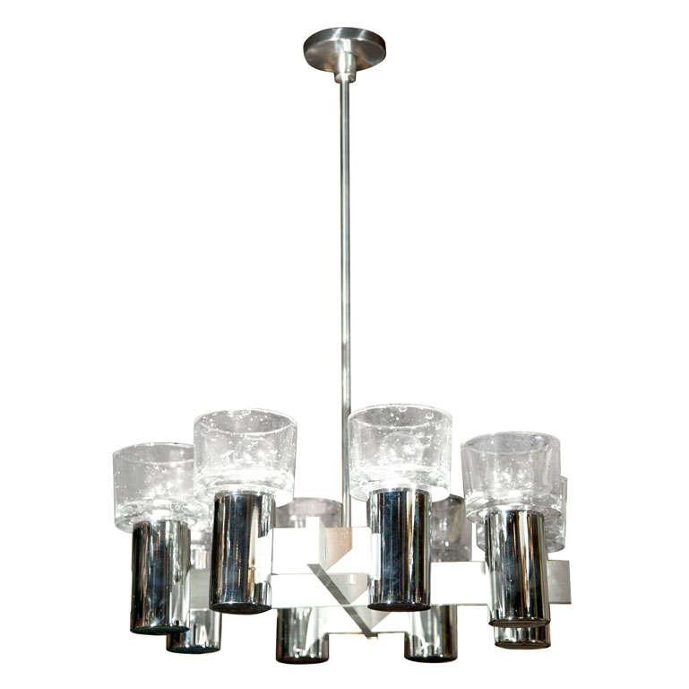 Lightolier Chrome and Glass Chandelier
