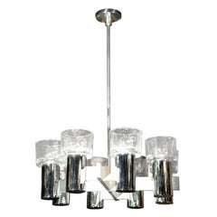Lightolier Chrome and Glass Chandelier