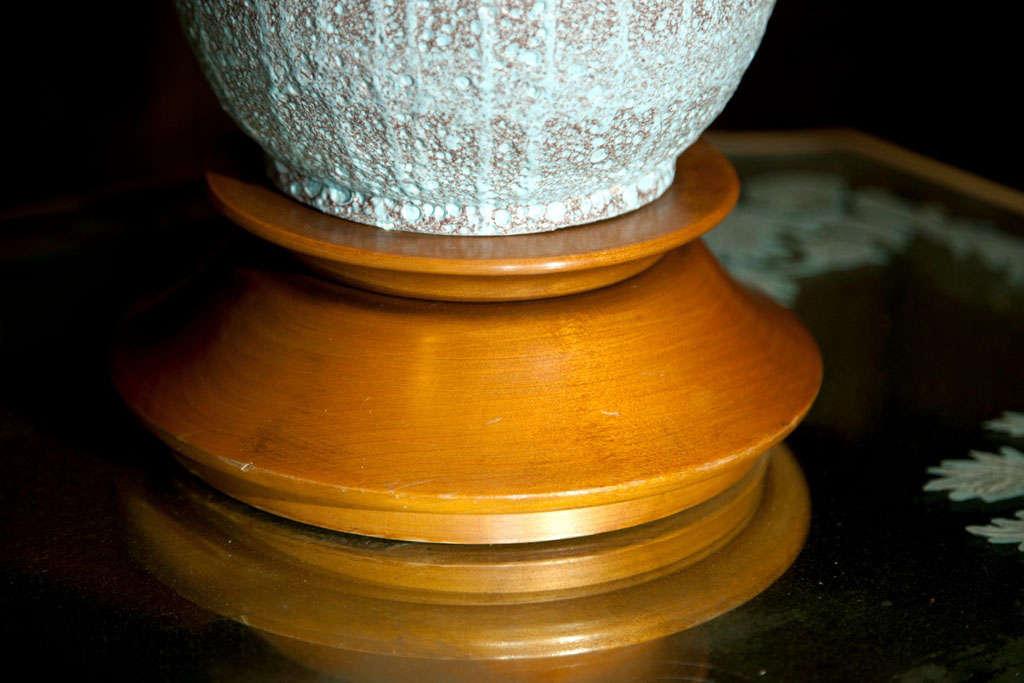 "American Large Pale Blue ""Lava"" Ceramic Lamp For Sale"