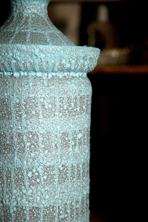 """Large Pale Blue """"Lava"""" Ceramic Lamp In Excellent Condition For Sale In Stamford, CT"""