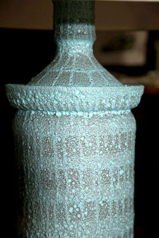 """Large Pale Blue """"Lava"""" Ceramic Lamp For Sale 1"""