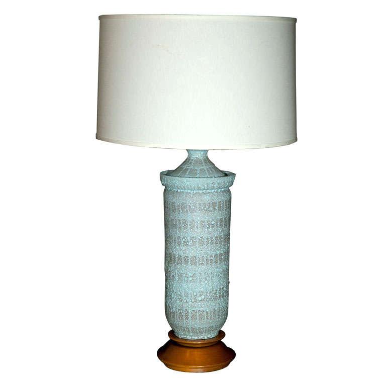 """Large Pale Blue """"Lava"""" Ceramic Lamp For Sale"""
