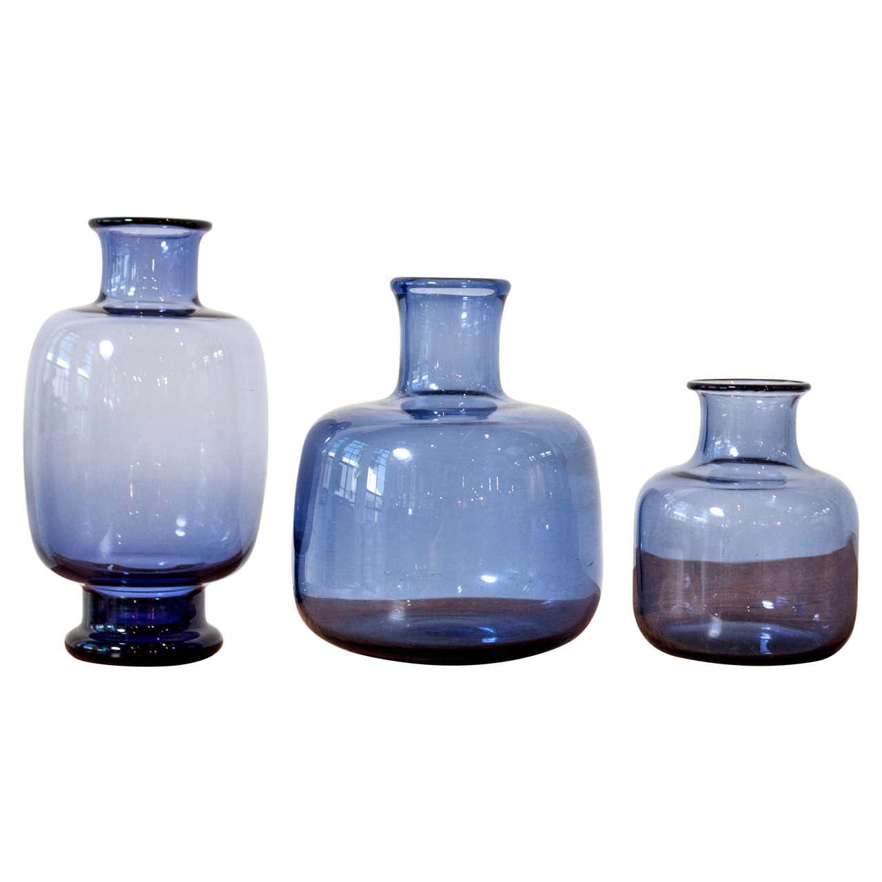 Per Lutken Three Blue Glass Vases For Sale At 1stdibs