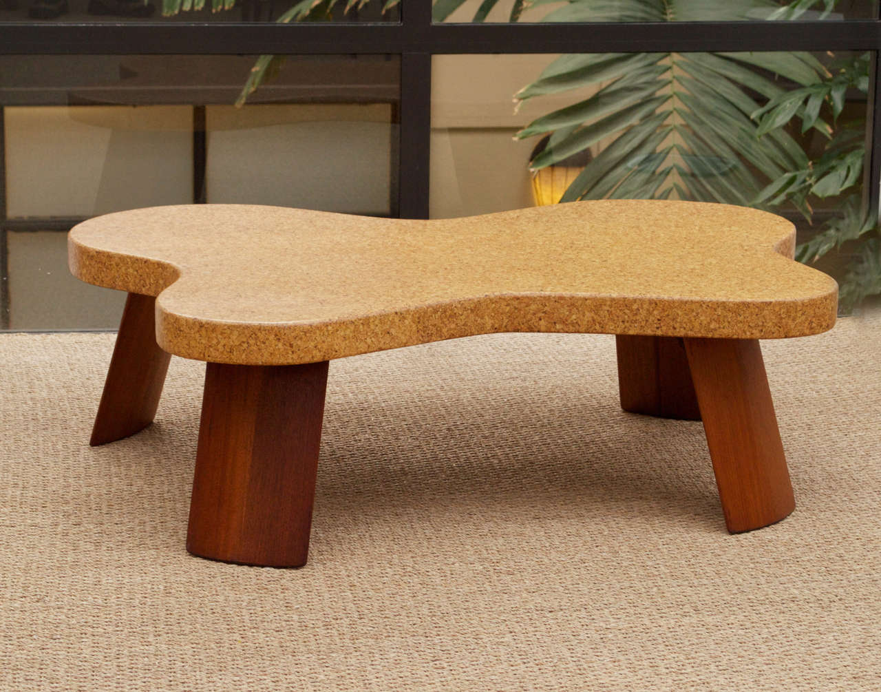 Modern Paul Frankl Cork Top Coffee Table For