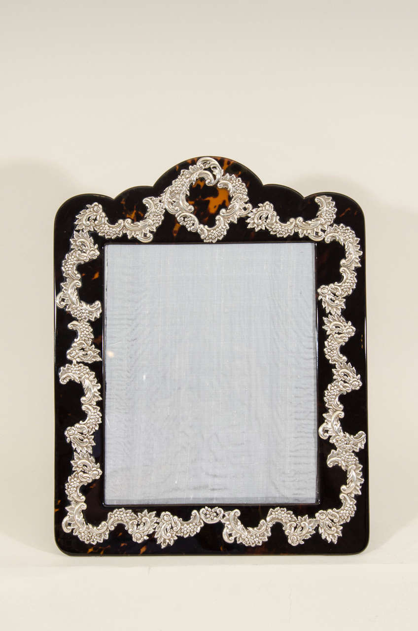 British Large English Art Deco Silver-Mounted Faux Tortoiseshell Photograph Frame For Sale
