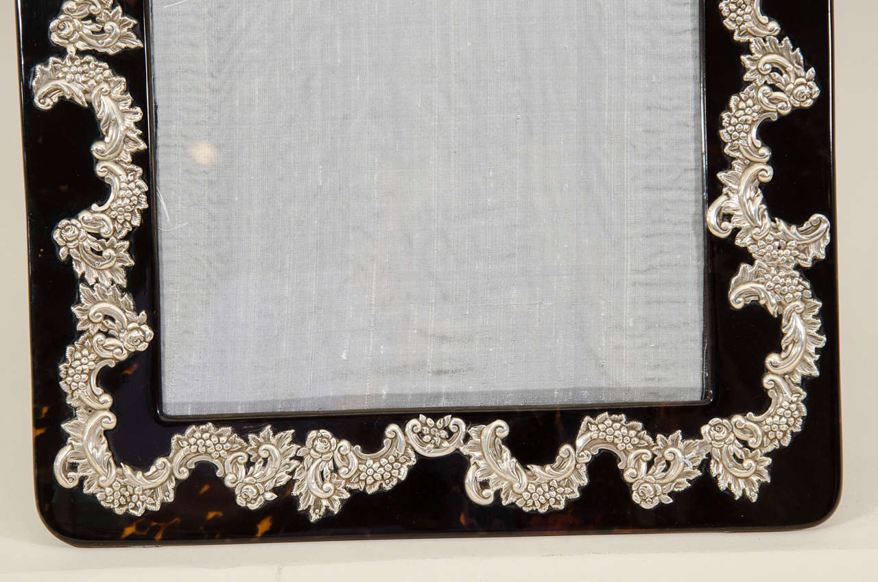 20th Century Large English Art Deco Silver-Mounted Faux Tortoiseshell Photograph Frame For Sale