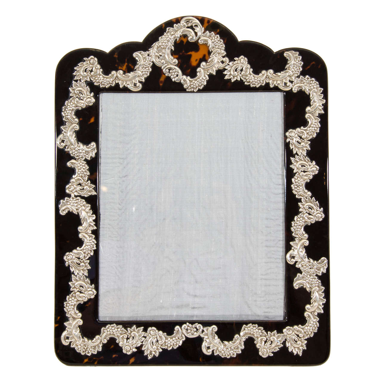 Large English Art Deco Silver-Mounted Faux Tortoiseshell Photograph Frame
