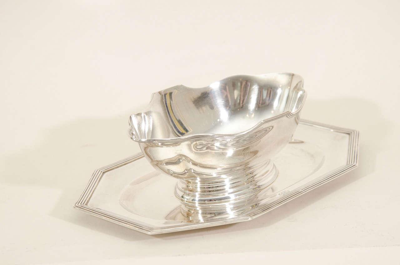 Jean Puiforcat French Art Deco Sterling Silver Saucier On