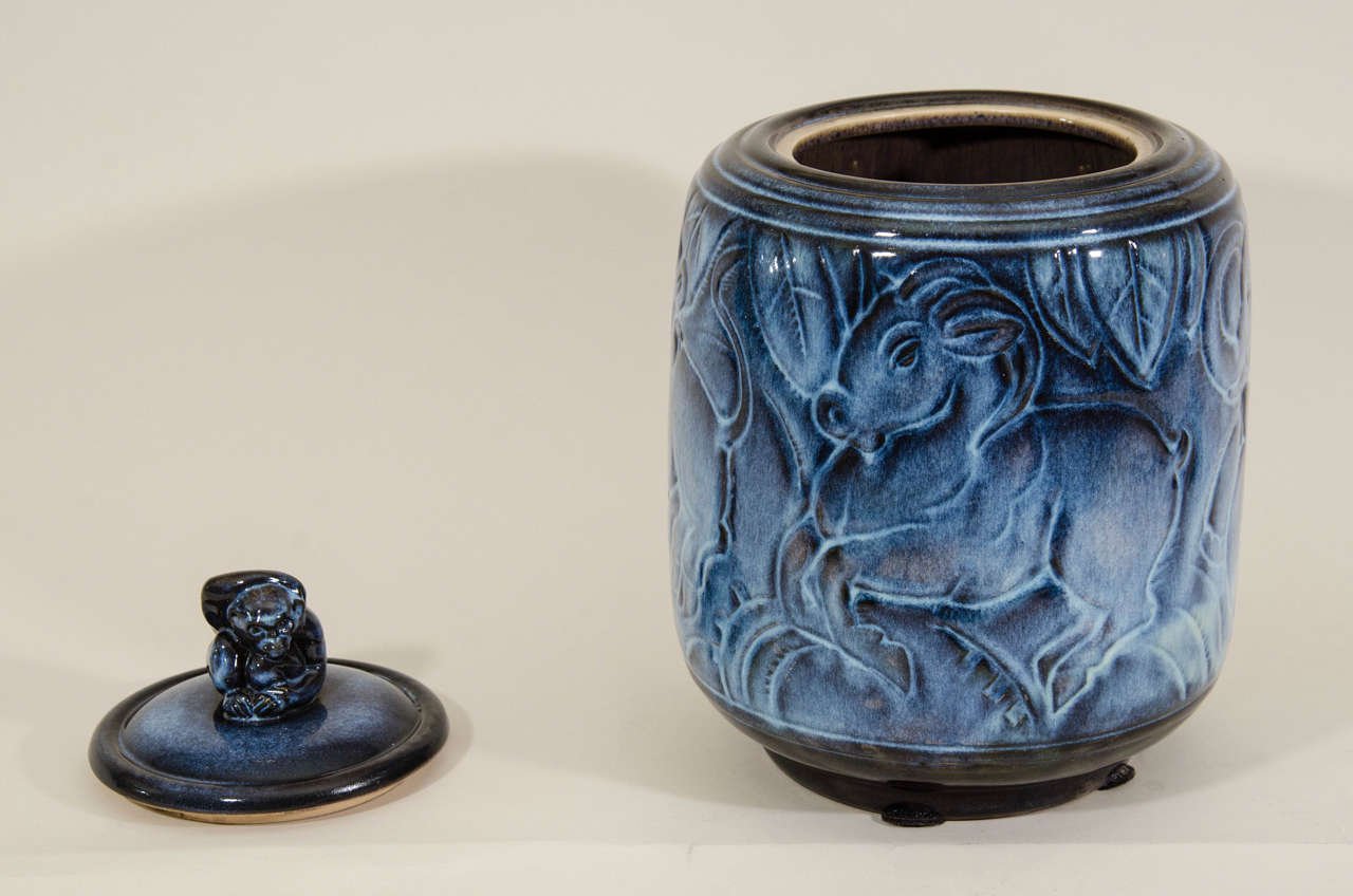 Maurice Gensoli for Sèvres French Art Deco Ceramic Blue Covered Pot For Sale 1