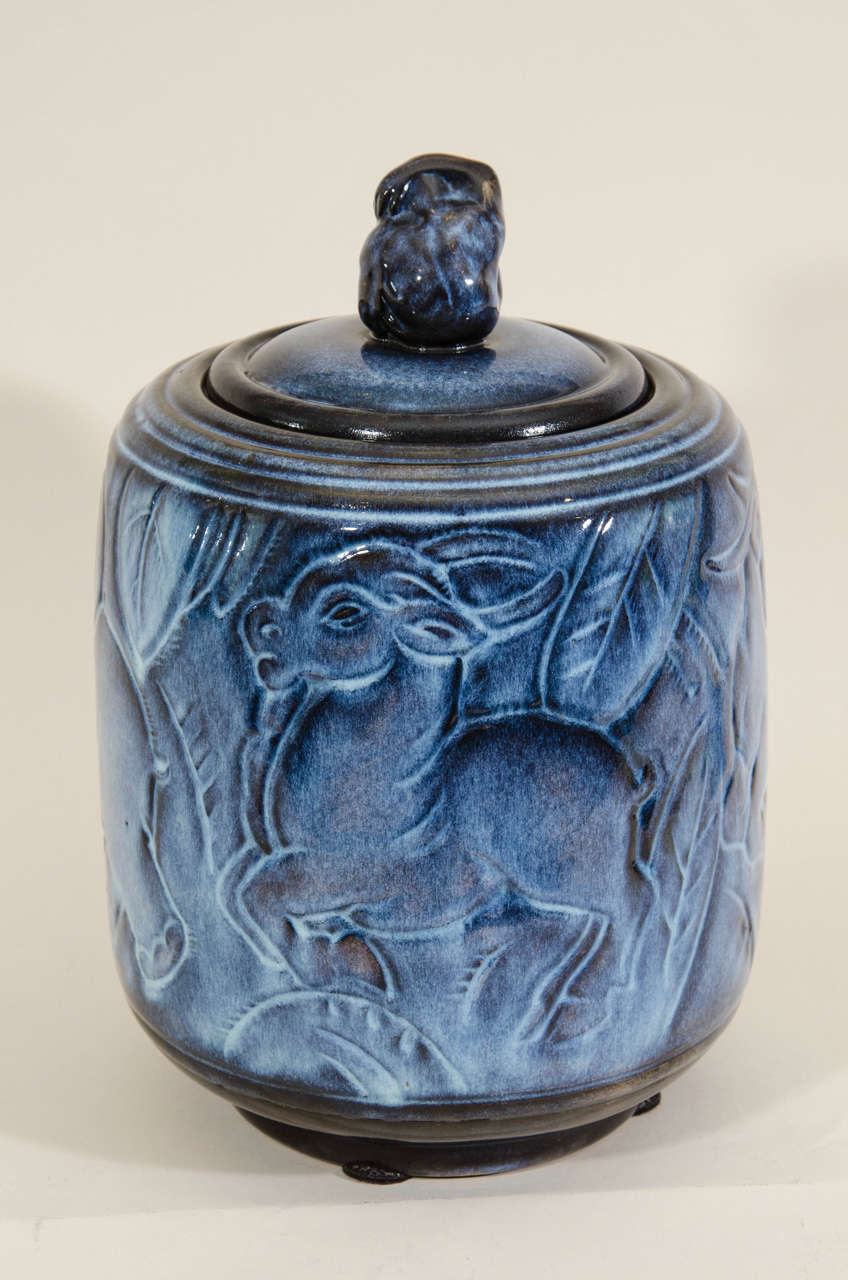 Maurice Gensoli for Sèvres French Art Deco Ceramic Blue Covered Pot For Sale 3