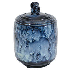 Maurice Gensoli for Sèvres French Art Deco Ceramic Blue Covered Pot