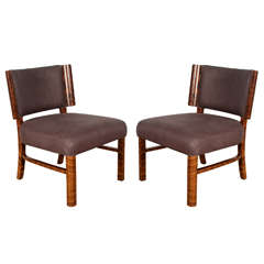 Pair of French Modern Macassar Chairs