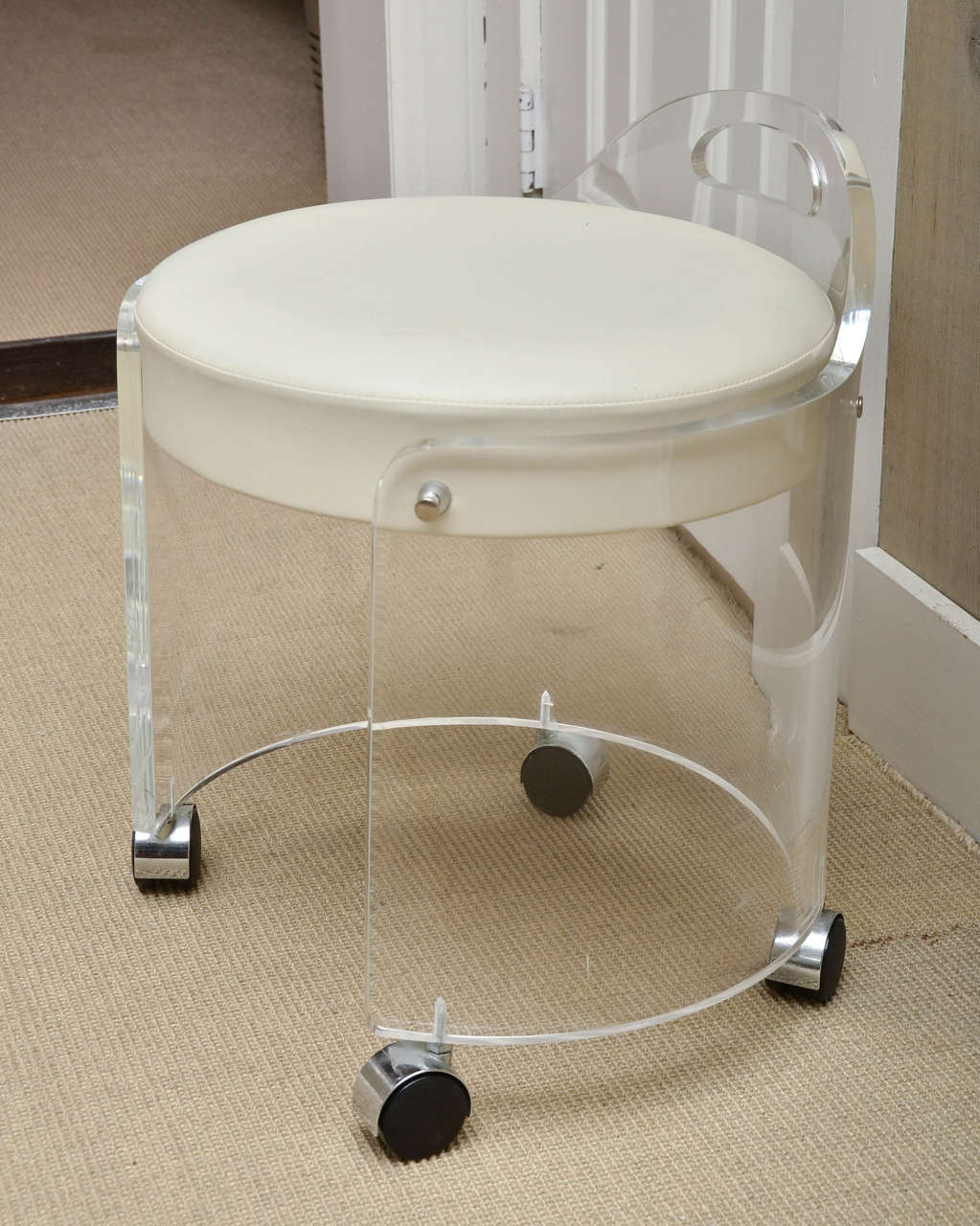 Vintage Round Lucite Vanity Stool By Charles Hollis Jones