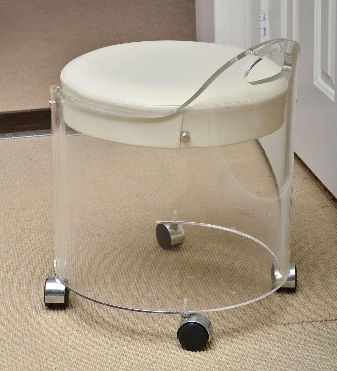 Vintage round lucite vanity stool by charles hollis jones at 1stdibs - Acrylic vanity chair ...