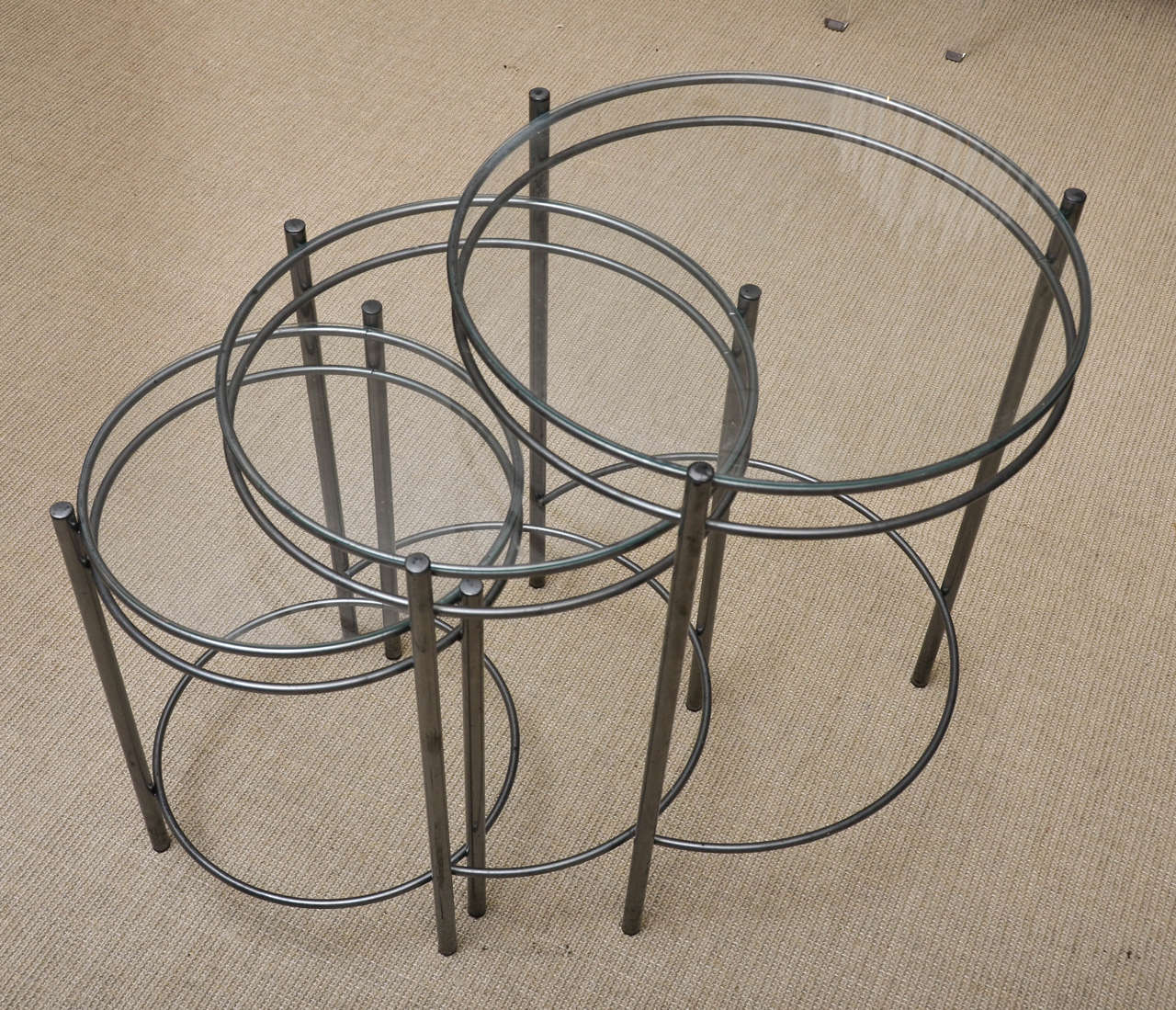 Set Of Three Metal And Glass Round Nesting Tables 2
