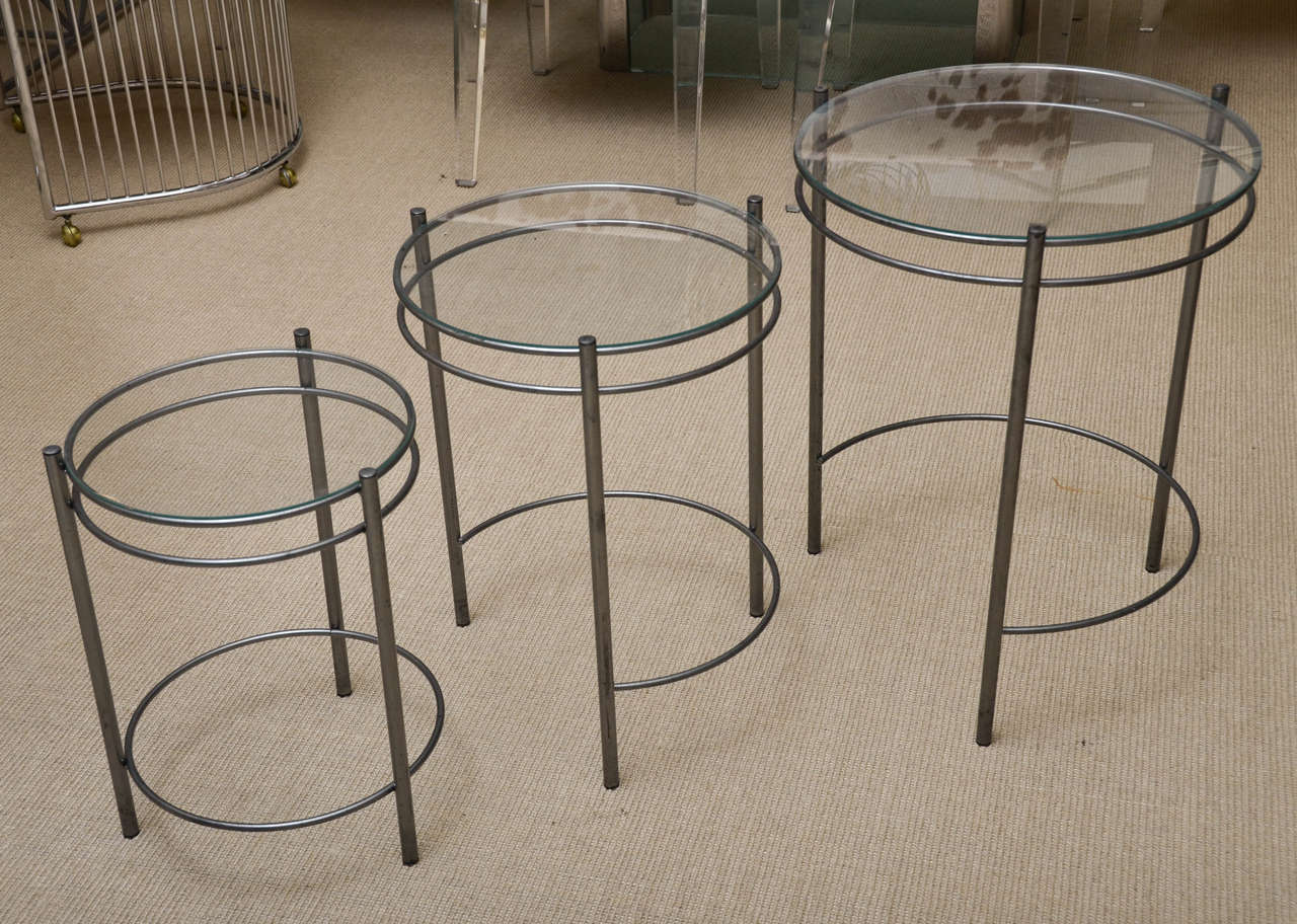 Set Of Three Metal And Glass Round Nesting Tables 3
