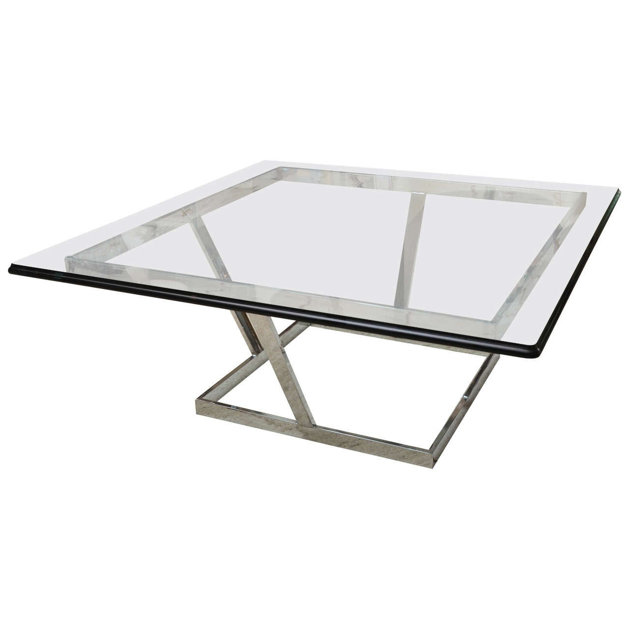 Vintage Square Glass And Chrome Cocktail Table By Karl Springer At 1stdibs