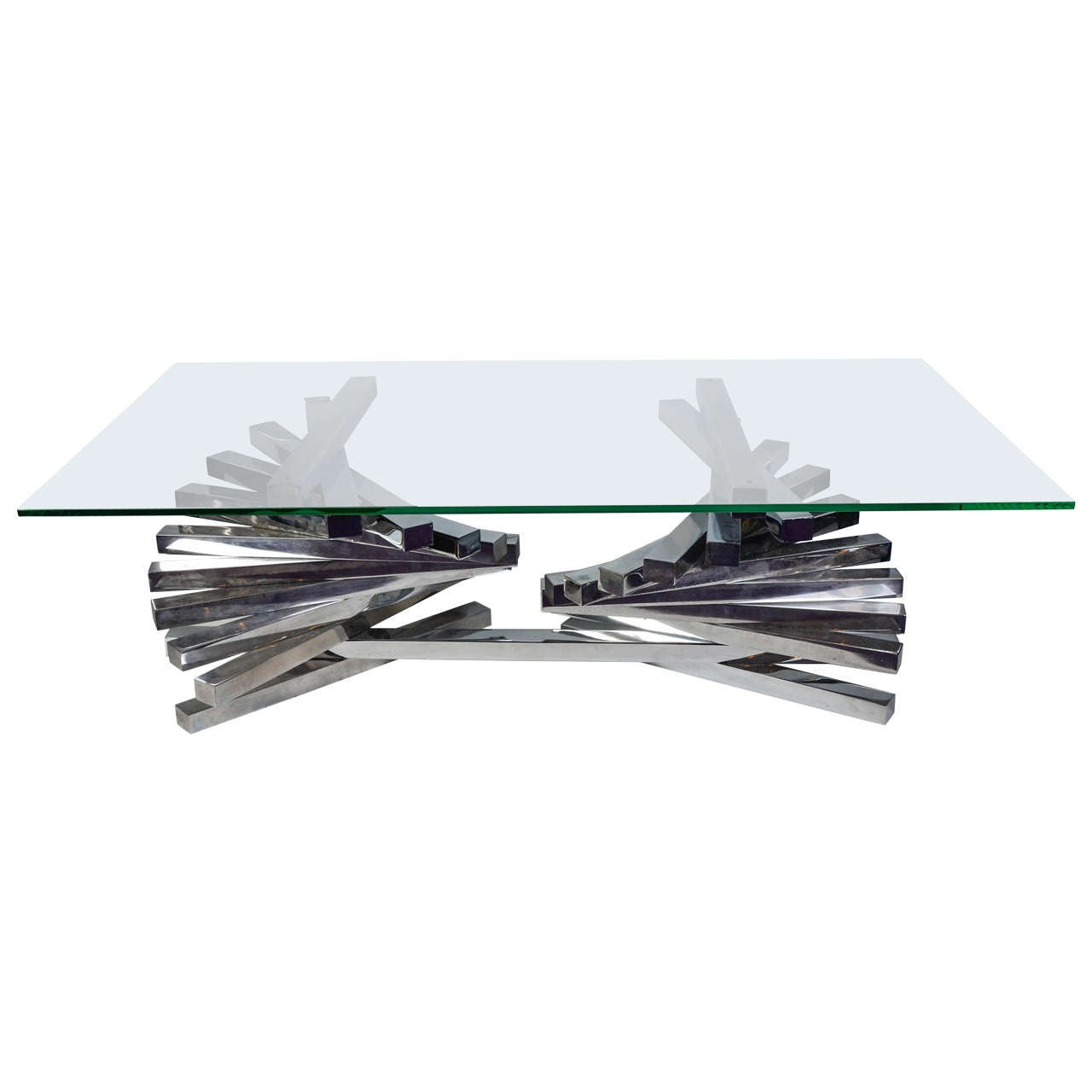 Chrome Coffee Table With Glass Top: Chrome Metal And Glass Top Coffee Table At 1stdibs
