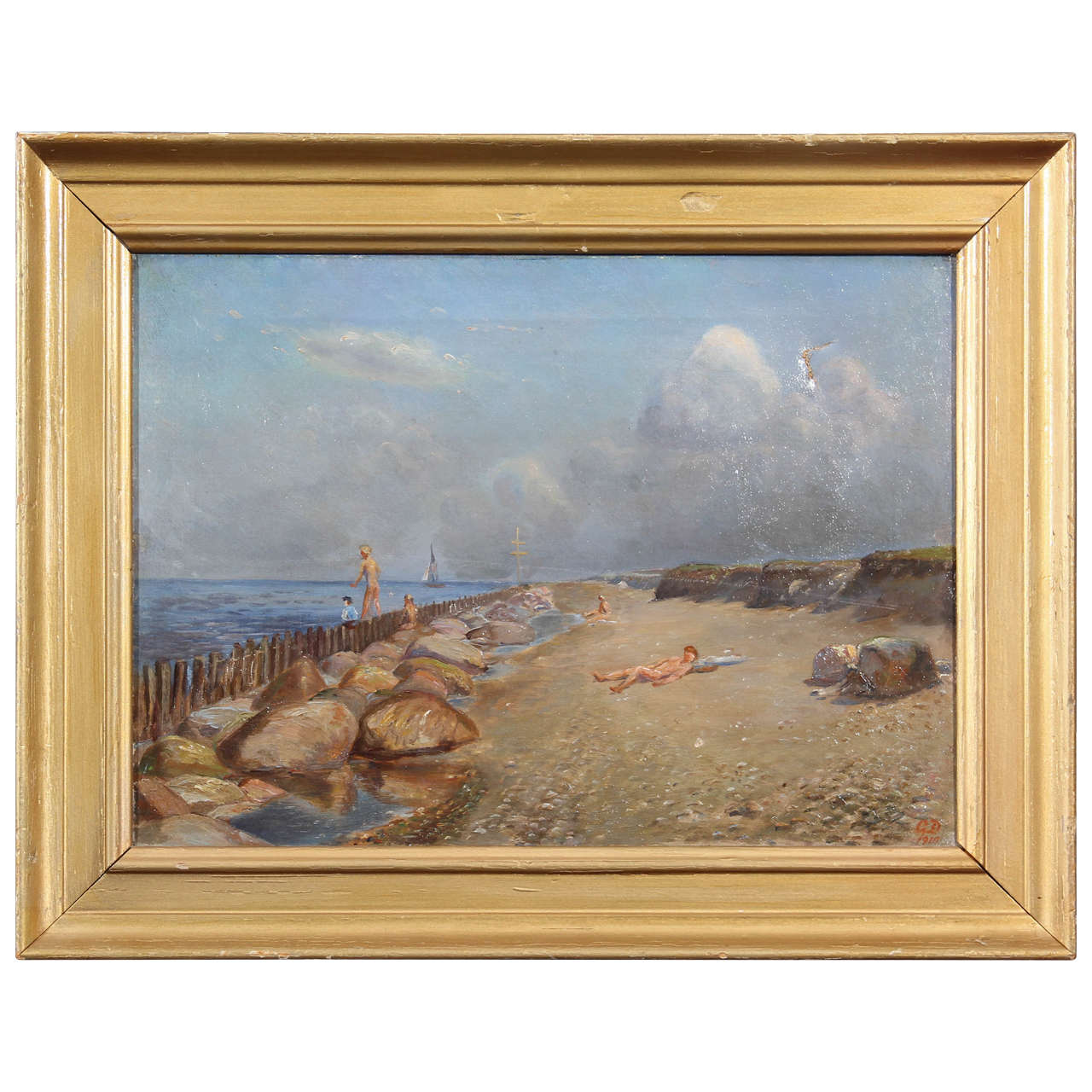 A nude beach painting, circa 1910 by a Danish artist
