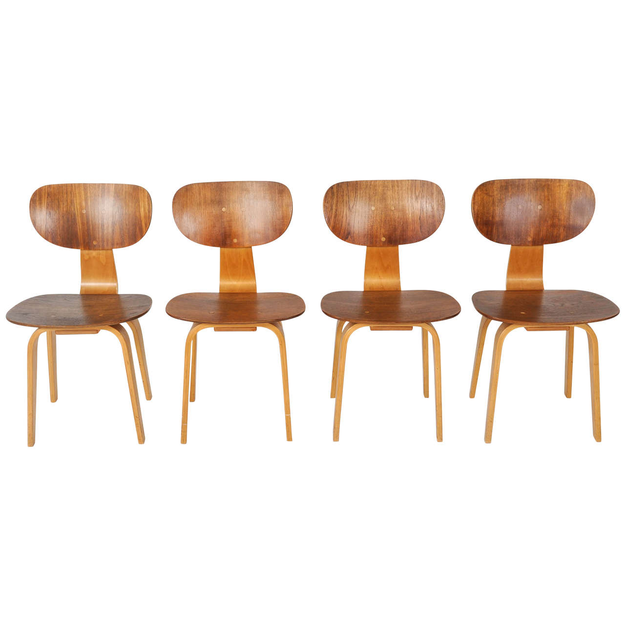 Set of 4 Cees Braakman for Pastoe Dining Chairs, Model SB13, Combex Series