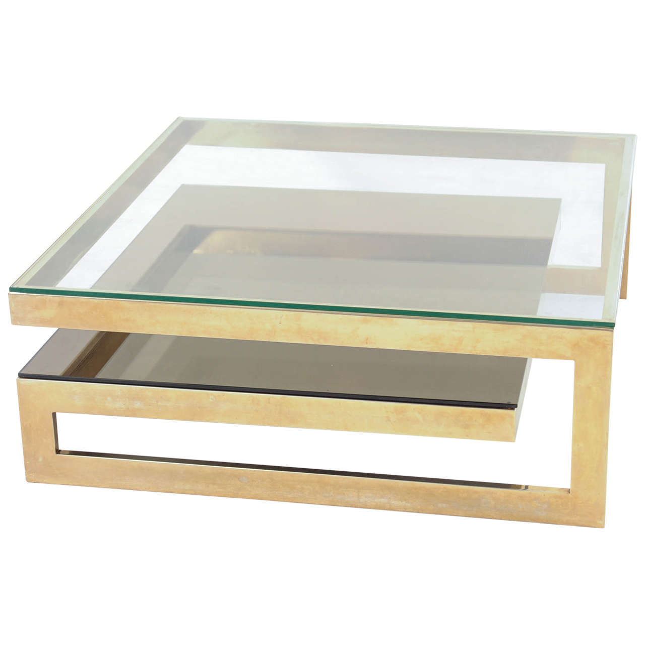 G Shaped 23 Carat Gold Plated Coffee Table At 1stdibs