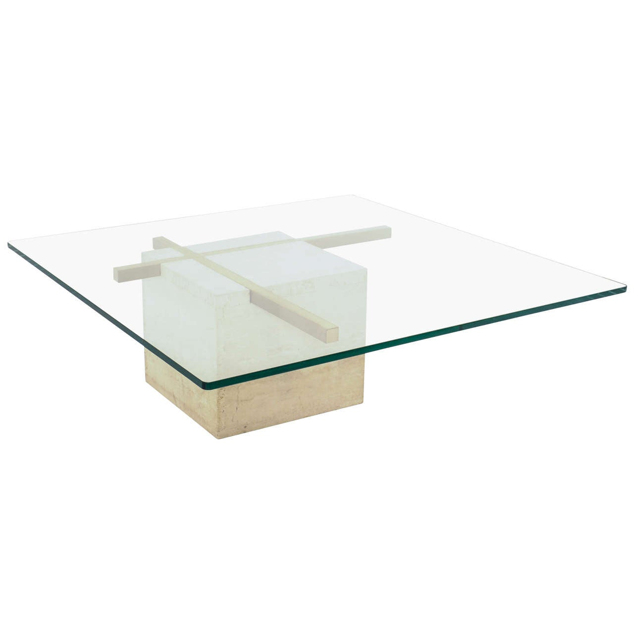 Coffee Table With Travertine Gold Plated Cross Base And Glass Top At 1stdibs