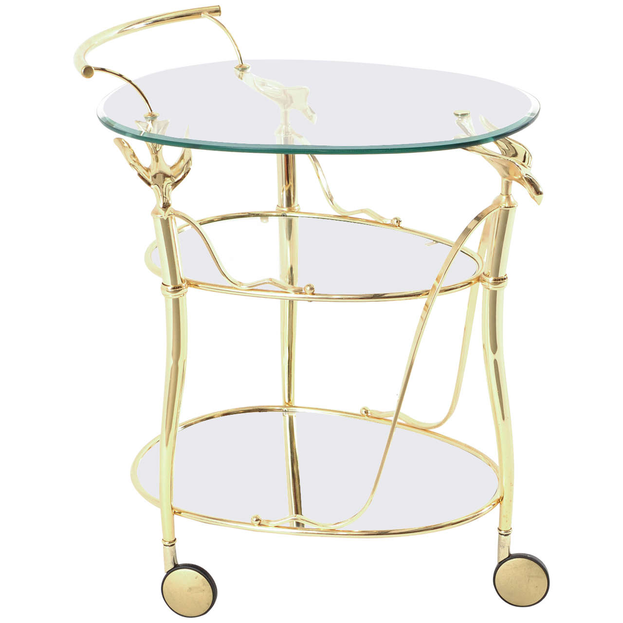Gilded Bar Cart Or Serving Trolley With Three Levels On Wheels 1