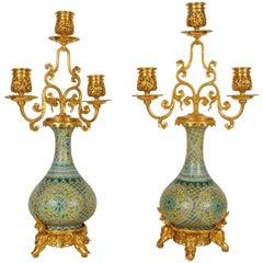 Pair of Porcelain and Doré Bronze Candelabra, Barbedienne, Edouard Lievre