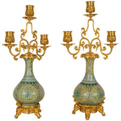 Pair of Porcelain and Doré Bronze Candelabra, Barbedienne, Edouard Lievre