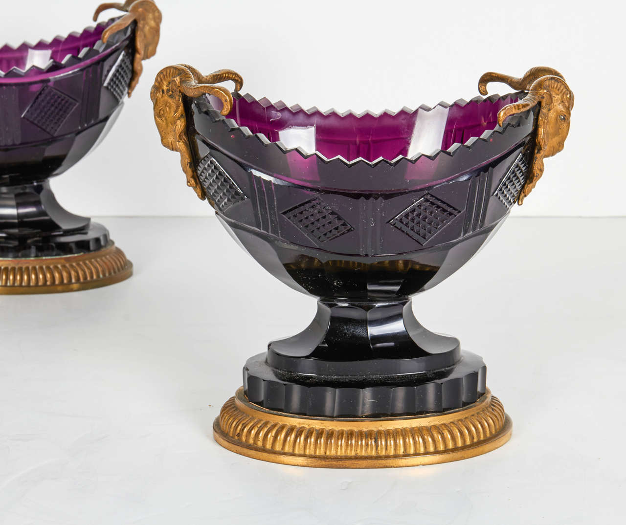 Neoclassical Pair of Antique Russian Ormolu and Amethyst Cut-Glass Compotes For Sale