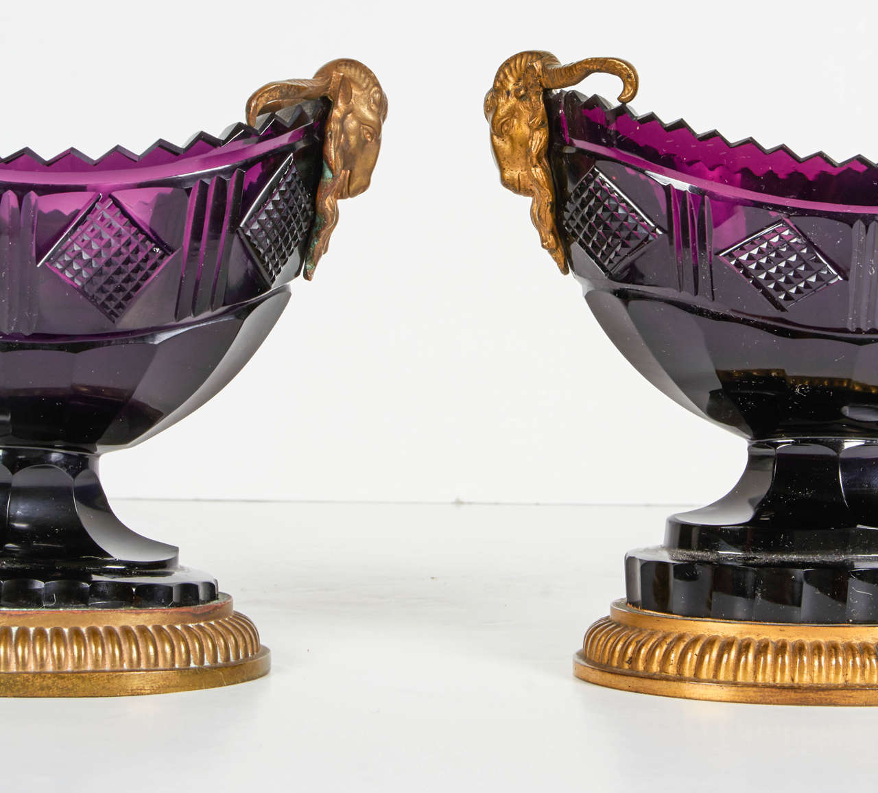 European Pair of Antique Russian Ormolu and Amethyst Cut-Glass Compotes For Sale