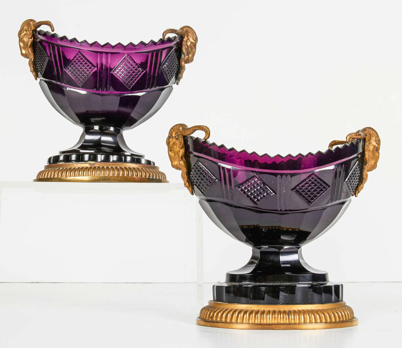 Hand-Carved Pair of Antique Russian Ormolu and Amethyst Cut-Glass Compotes For Sale