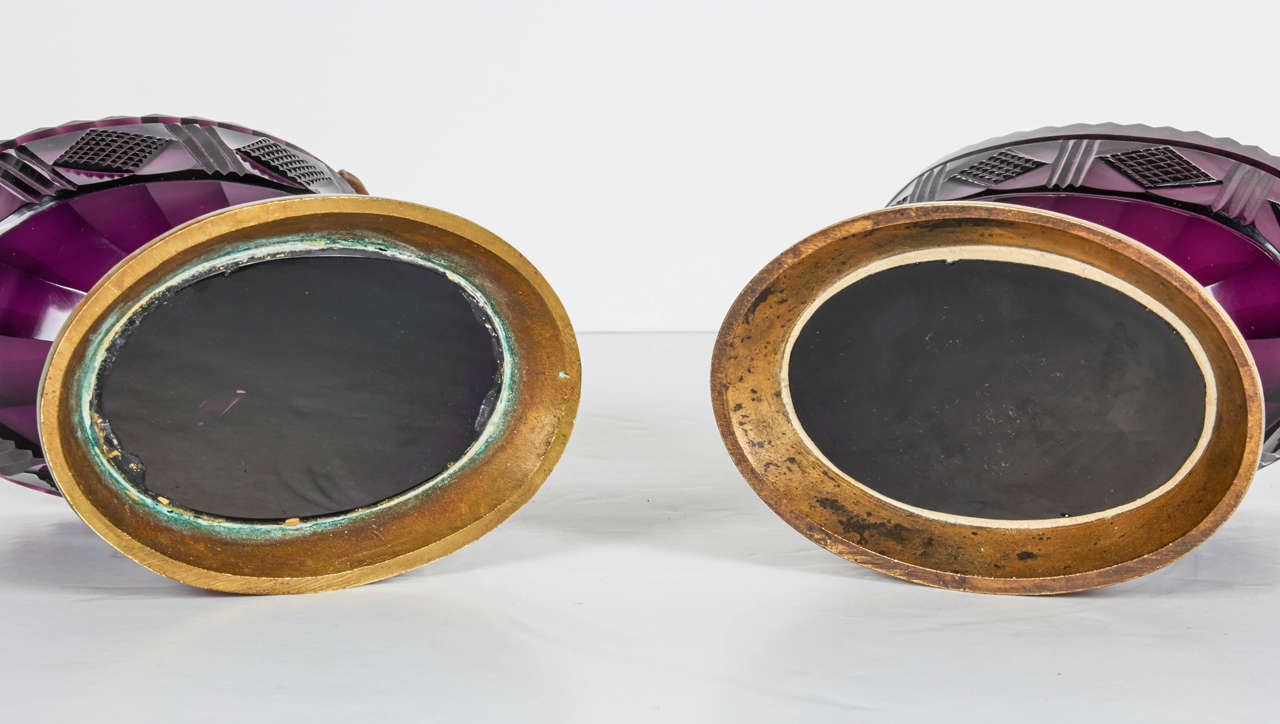 Bronze Pair of Antique Russian Ormolu and Amethyst Cut-Glass Compotes For Sale