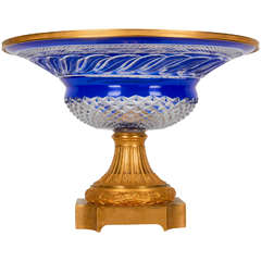 Russian Cobalt Blue Crystal and Dore Bronze-Mounted Centrepiece