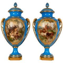 Royal Pair of Sèvres Porcelain '1867 Paris Exhibition' Vases and Covers