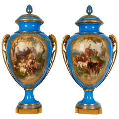 Royal Pair of Sèvres Porcelain '1867 Paris Exhibition' Vases and Covers