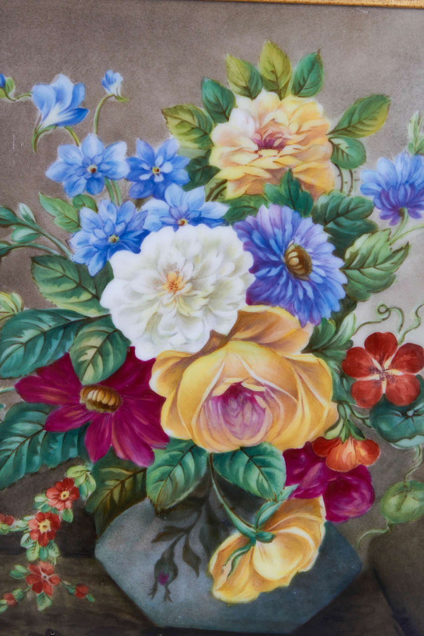German Pair of Hand-Painted Porcelain Plaques of Floral Still-Life Paintings For Sale