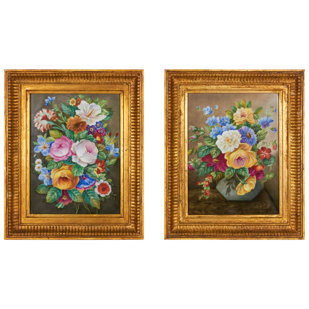 Pair of Hand-Painted Porcelain Plaques of Floral Still-Life Paintings