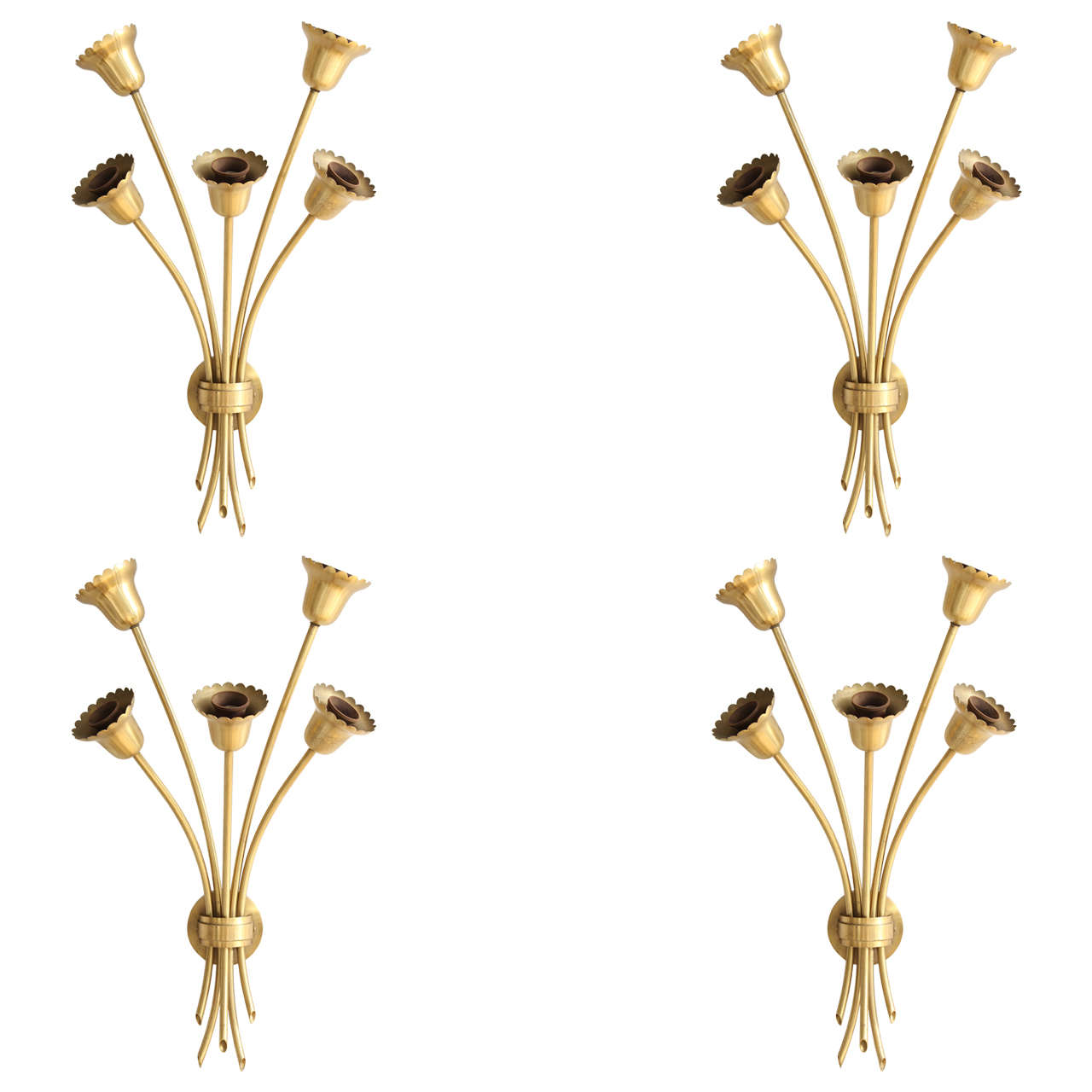 Set of Four Brass Wall Sconces