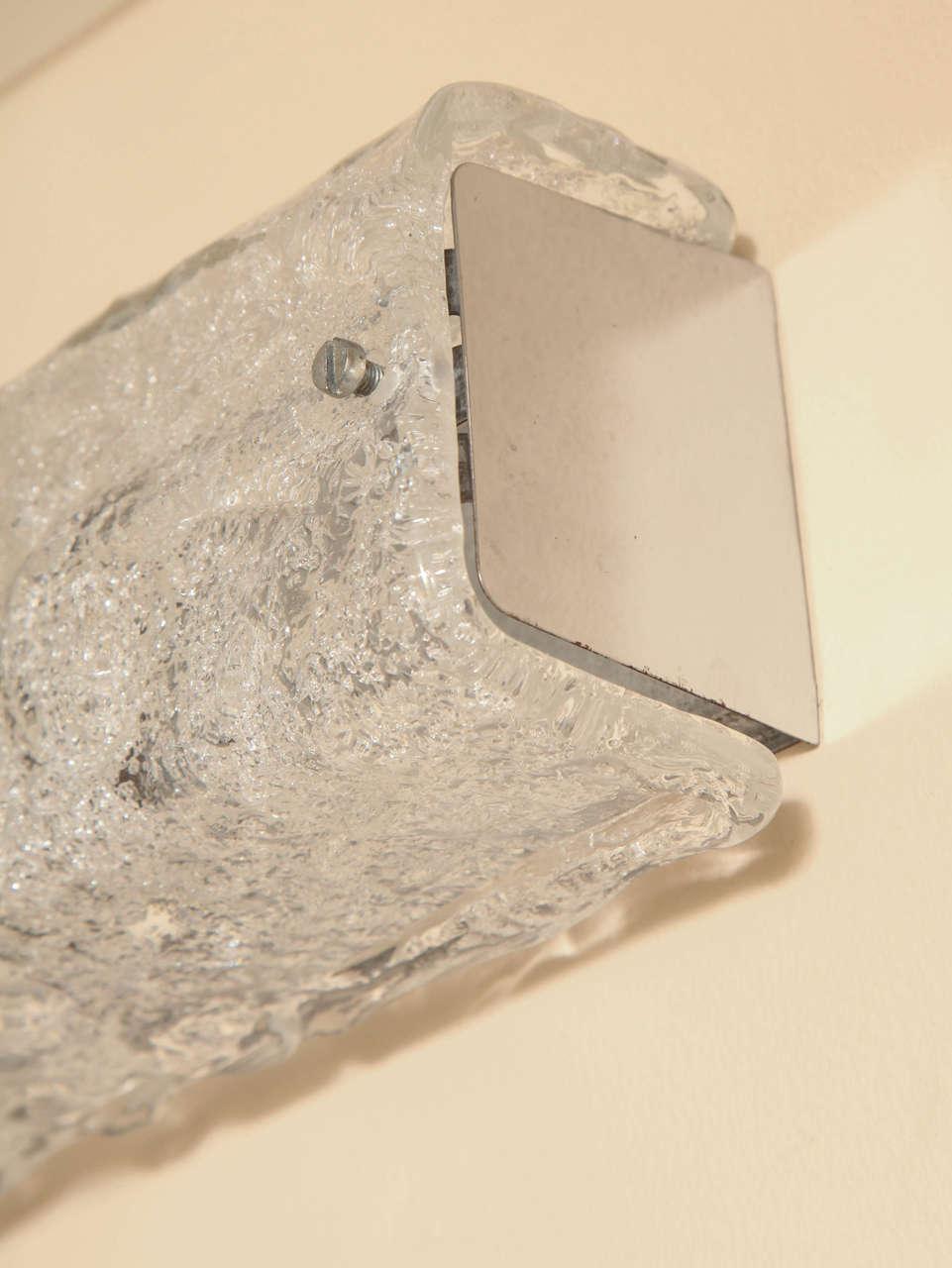 Textured Glass Vanity Light : Horizontal Textured Glass Vanity Light For Sale at 1stdibs