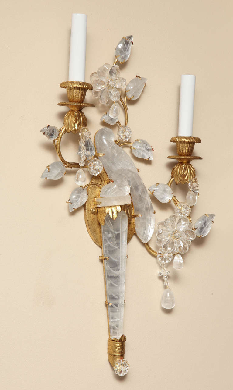 Rock Crystal Wall Sconces : Pair of Bagues Style Two-Light Rock Crystal Sconces at 1stdibs