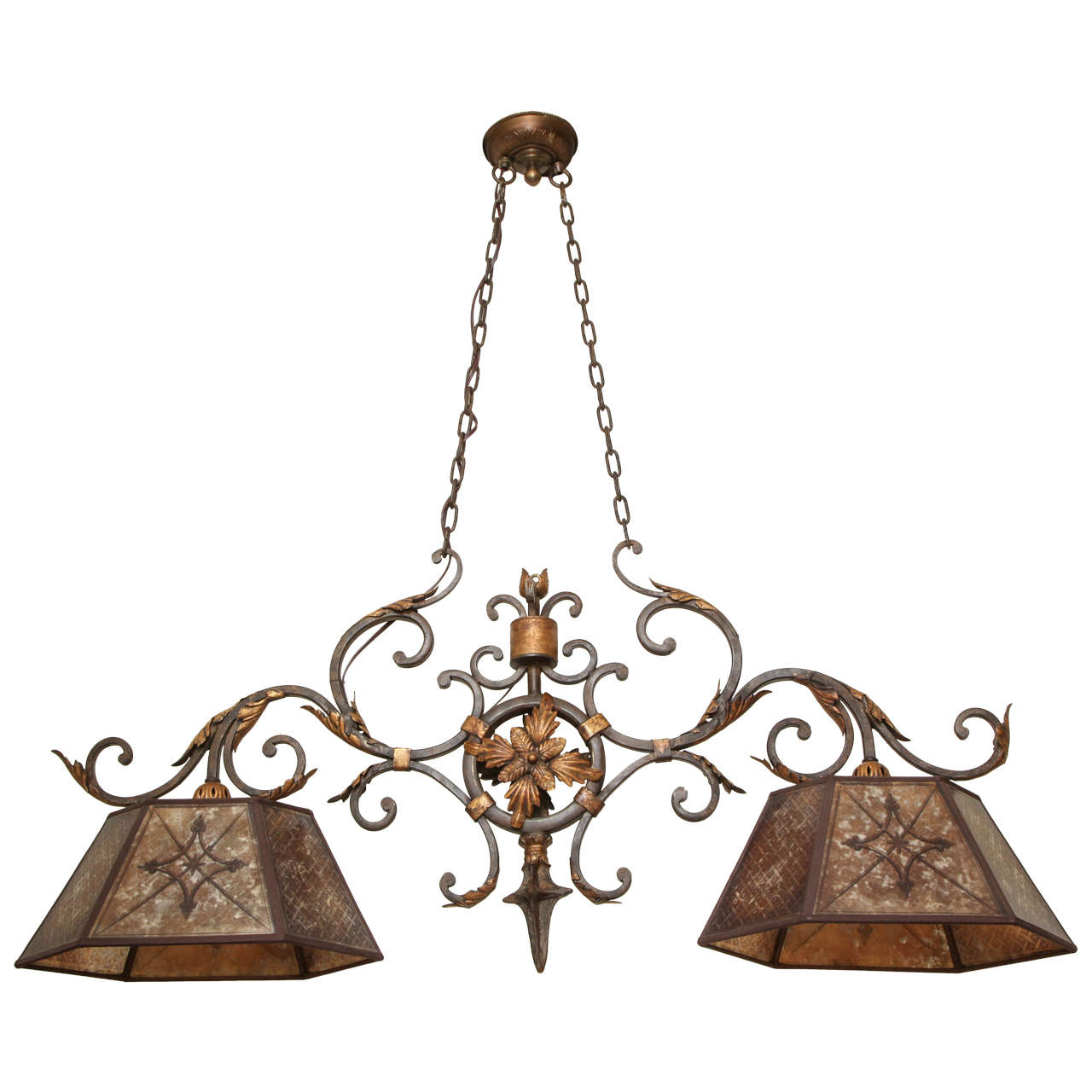 two light american wrought iron ceiling fixture for sale. Black Bedroom Furniture Sets. Home Design Ideas