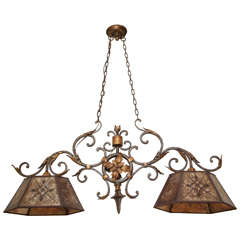 Two-Light American Wrought Iron Ceiling Fixture