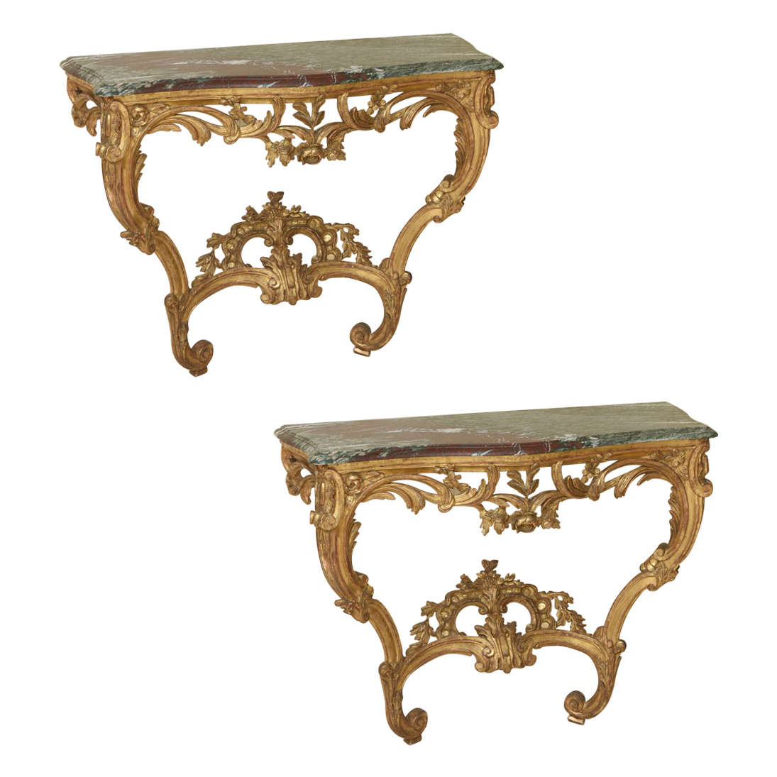 Pair of 18th Century Louis XV Giltwood Console Tables