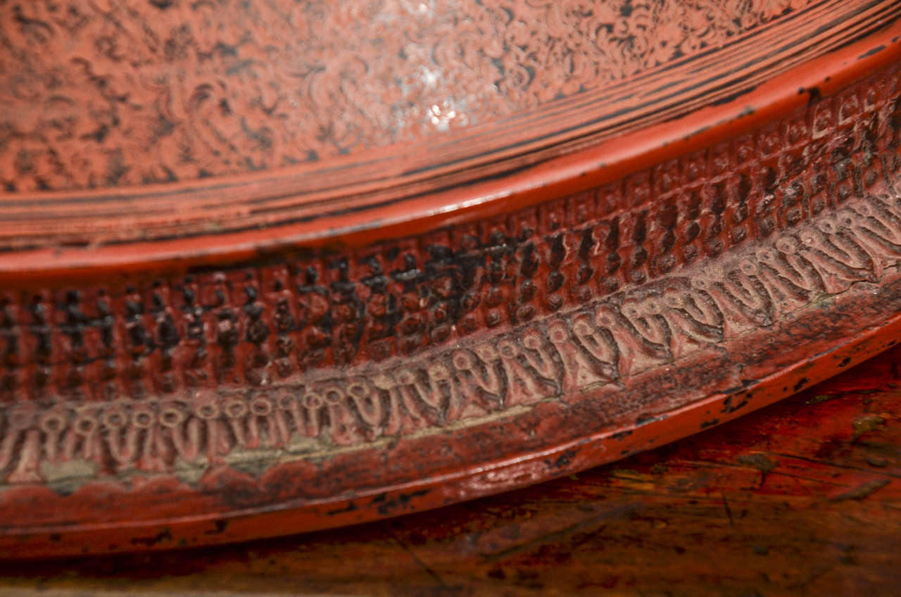 Embossed Late 19th Century Thai Lacquered Offering Cylinders For Sale